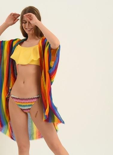 Morhipo Beach Kadın Renk Bloklu Kimono MBKSS21KI0009 Renkli